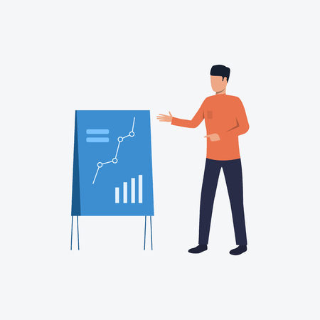 Speaker giving lecture with line chart on board. Business man, diagram, graph, analysis. Can be used for topics like business, presentation, lecture Çizim