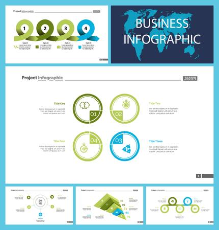 Das Design-Set für Business-Infografik-Präsentationsfolien kann für das Workflow-Layout, den Geschäftsbericht und das Webdesign verwendet werden. Statistikkonzept. Flussdiagramm, Optionsdiagramm, Prozessdiagramm, Zeitplandiagramm, Flächendiagramm