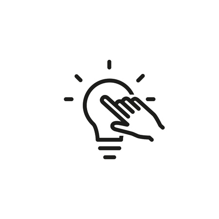 Idea marketing line icon. Light bulb, solution, innovation. Creativity concept. Can be used for topics like electricity, power, invention Stock Illustratie