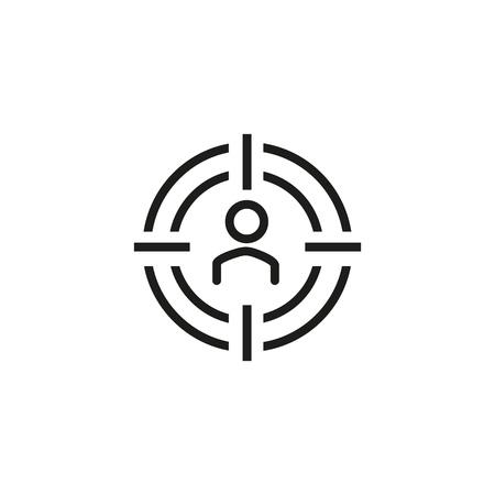 Icono de línea profesional de SEO. Destinatario, especialista, solicitante. Concepto de recursos humanos. Se puede utilizar para temas como personal, ocupación, gestión.