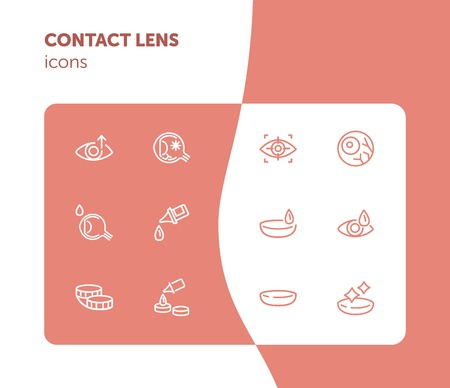 Contact lens icons. Contact solution, eye drops, eyeball. Eyesight correction concept. Vector illustration can be used for topics like healthcare, eyesight, ophthalmology
