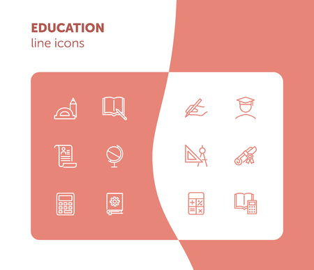Education line icons. Set of line icons on white background. Studying concept. Globus, calculator, book. Vector illustration can be used for topics like high school, science, college