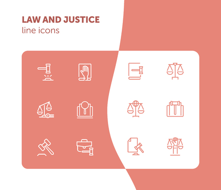 Law and justice line icons. Set of line icons on white background. Law concept. Gavel, rule, courtroom. Can be used for topics like judgement, law, government Archivio Fotografico - 125022811