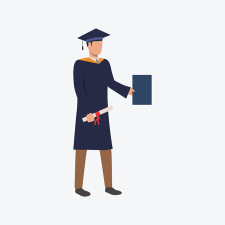College graduate flat icon. Guy, man, student holding blue paper and scroll. Education concept. Can be used for topics like high school, degree, diploma