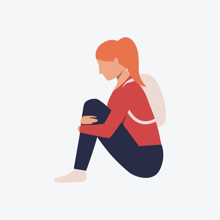 Depressed girl sitting on floor flat icon. Woman, teenager, backpack, casual. Depression concept. Can be used for topics like stress, loss, fatigue