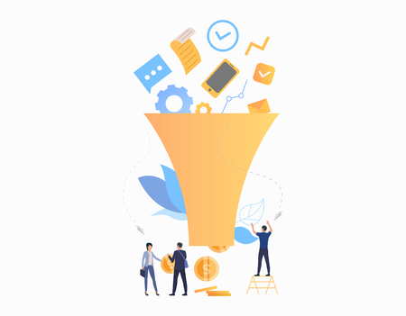 Profit flat icon. Team, funnel, money, income. Business concept. Can be used for topics like purchases, ecommerce, internet store