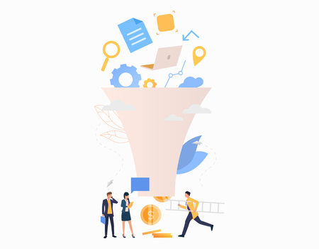 Revenue flat icon. Workgroup, funnel, money, goods. Business concept. Can be used for topics like online store, market, teamwork, commerce Illustration