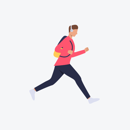 Running student flat icon. Man, guy, casual, headphones, backpack. Hurry up concept. Can be used for topics like chase, time late, city life