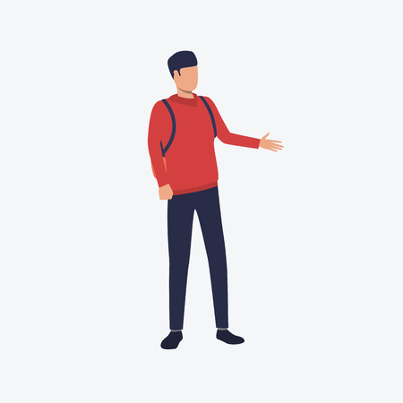 Student with backpack flat icon. Young man pointing hand, casual clothes, tourist. People concept. Can be used for topics like presentation, tourism, walk Illustration