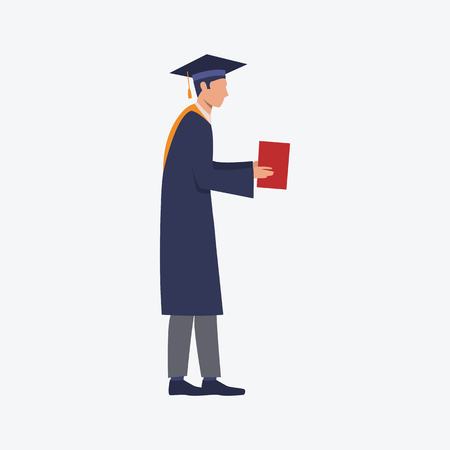 Student with diploma flat icon. Nerdy guy, graduate holding red paper. Education concept. Can be used for topics like college, high school, degree