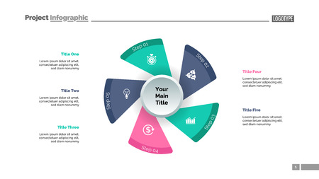 Five fan blades process chart slide template. Business data. Workflow, step, design. Creative concept for infographic, presentation, report. For topics like management, production, planning. Ilustrace