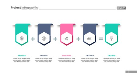 Four items sum process chart slide template. Business data. Result, option, design. Creative concept for infographic, presentation, report. Can be used for topics like banking, finance, accounting.