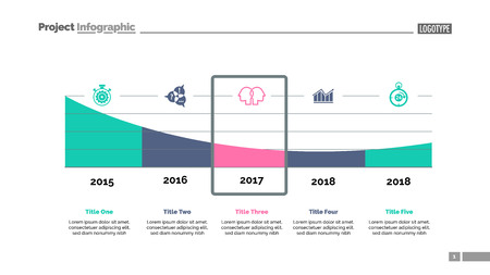 Five parts area chart slide template. Business data. Timeline, graphic, design. Creative concept for infographic, report. Can be used for topics like statistics, banking, research.