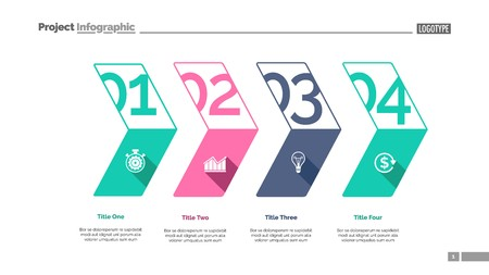 Four stages process chart slide template. Business data. Plan, corporate, design. Creative concept for infographic, presentation, report. Can be used for topics like management, economics, production.