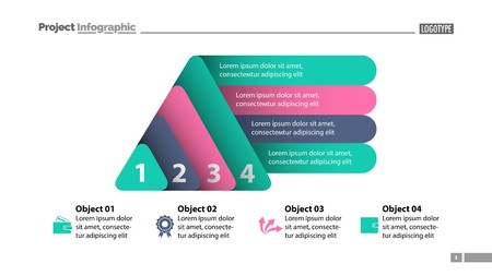 Four elements process chart slide template. Business data. Infochart, diagram, design. Creative concept for infographic, presentation, report. Can be used for topics like management, finance, banking.