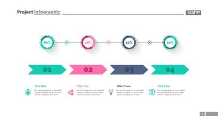 Four options percentage chart slide template. Business data. Comparison, diagram, design. Creative concept for infographic, presentation. Can be used for topics like marketing, economics, production. Ilustração