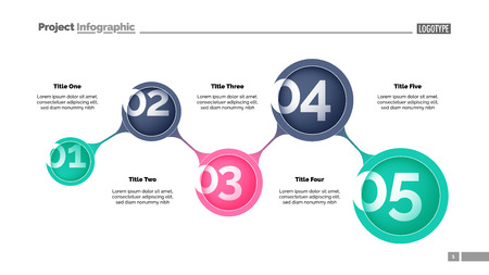 Five steps process chart slide template. Business data. Option, step, design. Creative concept for infographic, presentation, report. Can be used for topics like marketing, teamwork, workflow.