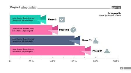 Four phase process bar graph design. Element of chart, graph, diagram. Concept for presentation, annual report, infographic. Can be used for topics like business, strategy, startup