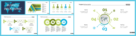 Business inforgraphic design set for marketing concept. Can be used for business project, annual report, web design. Process chart, option chart, flowchart, bar graph, area chart, donut diagram Ilustração