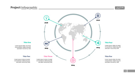 Five world map items process chart slide template. Business data. Timeline, point, design. For infographic, presentation, report. For topics like banking, strategy, logistics.