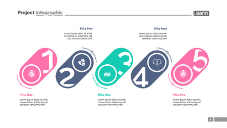 Five stages process chart slide template. Business data. Strategy, corporate, design. Creative concept for infographic, presentation, report. For topics like management, marketing, recruitment.