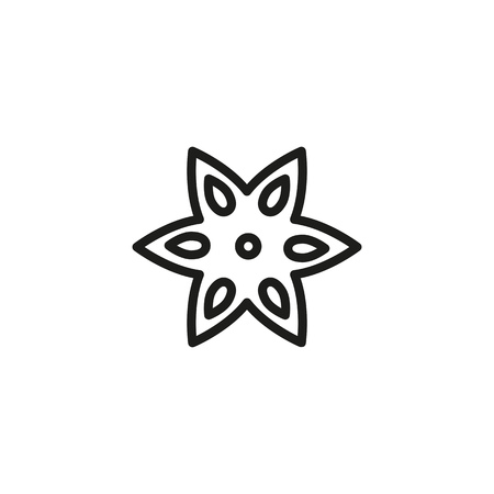 Anise star line icon. Flower, spice, food. Ingredient concept. Vector illustration can be used for topics like cooking, perfume, spice