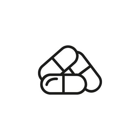 Capsules line icon. Three capsules, drug, treatment. Pharmaceutical concept. Vector illustration can be used for topics like apothecary, pharm store, hospital Illustration