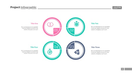 Four circles process chart slide template. Business data. Step, diagram, design. Creative concept for infographic, presentation. Can be used for topics like management, production, teamwork. Ilustração