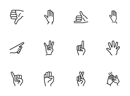 Gestures line icon set. Hand, dislike, pointing with finger, fingers crossed. Body language concept. Can be used for topics like approval, signs, gesturing