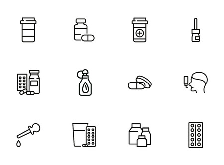Treatment line icon set. Medical bottle, pills, drops, inhaler. Medicine concept. Can be used for topics like therapy, cure, illness, flu Illustration