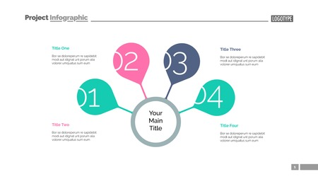 Four steps for success slide template. Business data. Graph, diagram. Creative concept for infographic, presentation, report. Can be used for topics like strategy, training, research