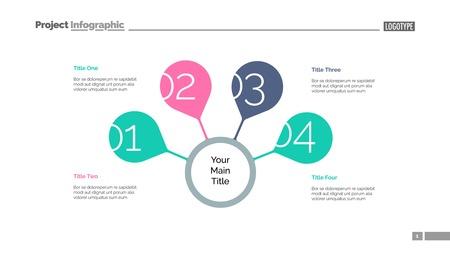 Vier Schritte für eine erfolgreiche Folienvorlage. Geschäftsdaten. Grafik, Diagramm. Kreatives Konzept für Infografik, Präsentation, Bericht. Kann für Themen wie Strategie, Training, Forschung verwendet werden