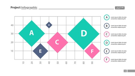 Six colorful rhombs on grid slide template. Business data. Graph, chart, design. Creative concept for infographic, report. Can be used for topics like statistics, analysis, research