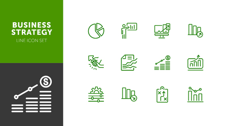 Business strategy line icons set. Set of line icons on white background. Economy concept. Plan, scheme, businessman. Vector illustration can be used for topics like business, economy, strategy Reklamní fotografie - 124687783