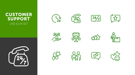 Customer support line icon set. Telephone, courier, order delivery. Service concept. Can be used for topics like feedback, online shopping, rating Ilustrace