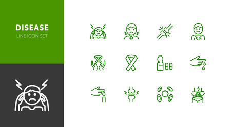 Disease line icon set. Set of line icons on white background. Health care concept. Band, bone break, pain. Vector illustration can be used for topics like medicine, drugs, hospital