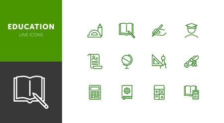 Education line icons. Set of line icons on white background. Studying concept. Globus, calculator, book. Vector illustration can be used for topics like high school, science, college Zdjęcie Seryjne - 124687793