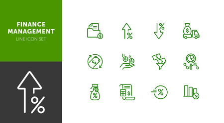 Finance management line icon set. Cash delivery vehicle, funnel, report. Money concept. Can be used for topics like investment, earning, income Vecteurs