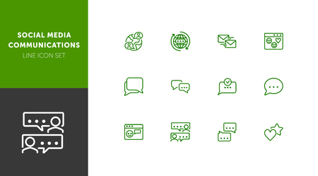 Social media communications line icon set. Set of line icons on white background. Chatting, message, typing. Internet concept. Vector illustration can be used for topics like web, communication  イラスト・ベクター素材