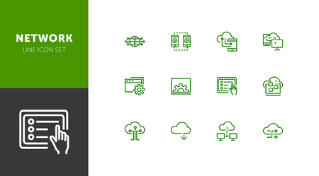 Network line icon set. Set of line icons on white background. Laptop, setting, file, downloading. Internet concept. Vector illustration can be used for topics like technology, internet, web Illustration