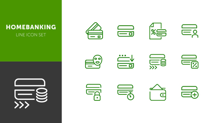 Homebanking line icon set. Set of line icons on white background. Accountancy concept. Purse, percent, credit card. Vector illustration can be used for topics like money, accounting, finance