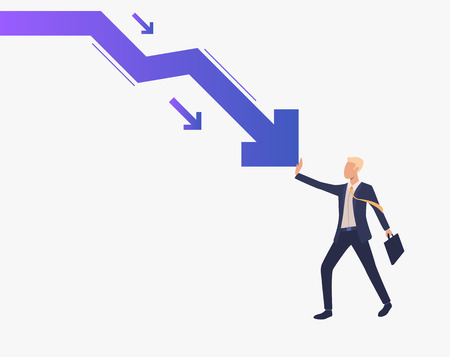 Business man stopping falling down arrow graph. Crisis management, business protection, loss prevention concept, presentation slide template. Can be used for topics like business, finance, banking