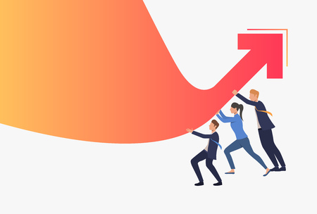 Business people pushing red financial arrow graph up. Growth, success, crisis management, teamwork concept, presentation slide template. Can be used for topics like business, finance, marketing