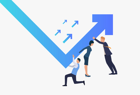 Business people pushing financial graph arrow rising up. Growth, success, crisis management, teamwork concept, presentation slide template. Can be used for topics like business, finance, marketing 写真素材 - 124687821