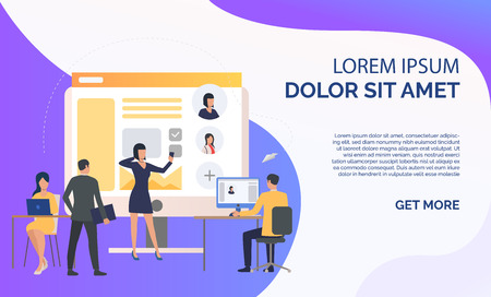 Hiring agency, applicants and job interview and sample text. Personnel, hr, employment concept, presentation slide template. Can be used for topics like business, recruitment, human resources 일러스트