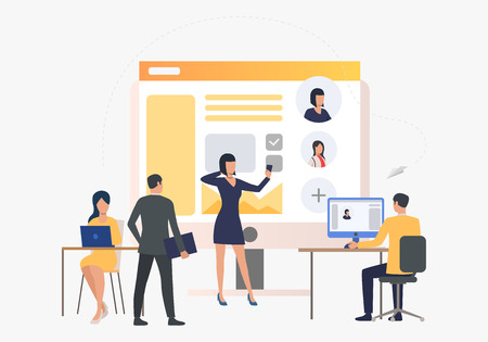 Hiring agency, applicants and job interview. Personnel, hr, employment concept, presentation slide template. Can be used for topics like business, recruitment, human resources 스톡 콘텐츠 - 124687827