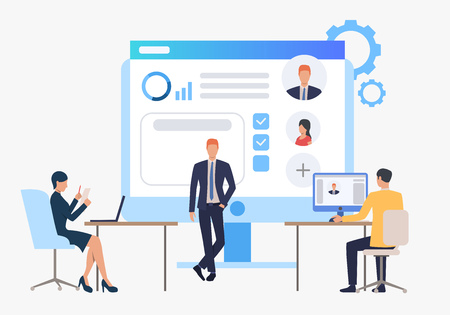 Hiring agency, candidates and job interview. Personnel, hr, employment concept, presentation slide template. Can be used for topics like business, recruitment, human resources 일러스트