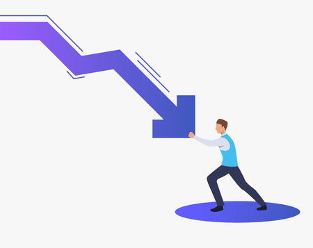 Man stopping falling down arrow graph. Crisis management, business protection, loss prevention concept, presentation slide template. Can be used for topics like business, finance, banking