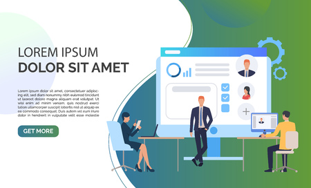 Recruitment agency, candidates and sample text. Personnel, hr, employment concept, presentation slide template. Can be used for topics like business, recruitment, human resources 스톡 콘텐츠 - 124665704