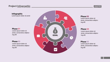 Five elements process chart slide template. Business data. Plan, circle, design. Creative concept for infographic, presentation, report. Can be used for topics like management, finance, teamwork.